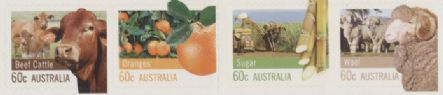 Aus SG3751-4 Farming Australia self-adhesive strip of 4 from booklets (exSB407-8), perf 11